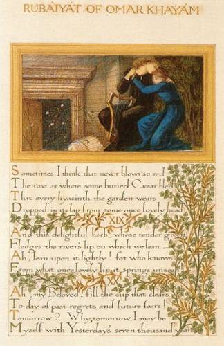 Illuminated manuscript of the Rubaiyat of Omar Khayyam by William Morris, illustrated by Burne-Jones with a variant of Love Among the Ruins, 1870s