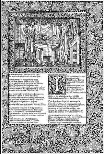 A page from the Kelmscott Chaucer, decoration by Morris and illustration by Burne-Jones, 1896