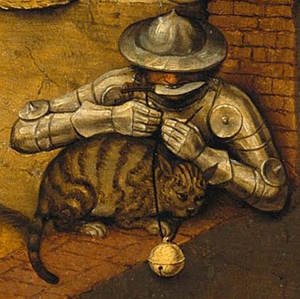 Да вържеш звънче на котката. Да проявиш недискретност относно планове, които следва да бъдат тайни. Да бъдеш въоръжен до зъби. Да бъдеш тежко въоръжен. Да гризеш желязото. Да бъдеш самохвален, недискретен.