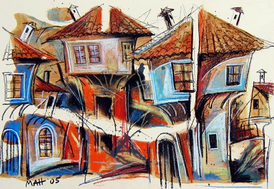Стари къщи - серия рисунки от Малон Панчовски